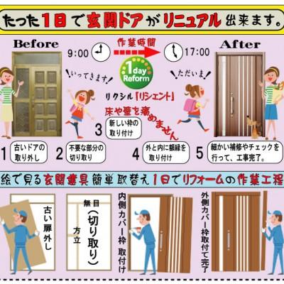 『行ってきます』から『ただいま』まで、1日で出来る玄関ドアの取替えリフォーム。