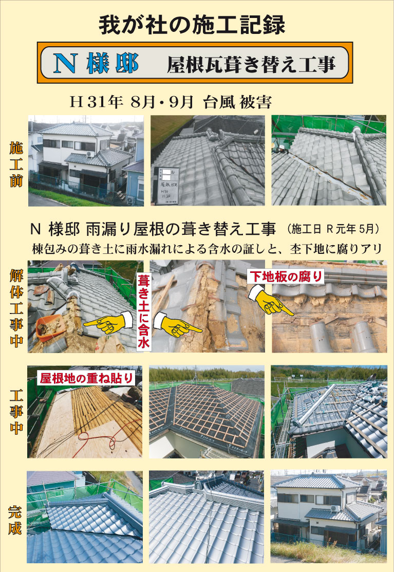 R1年5月菱田(西村邸)瓦葺き